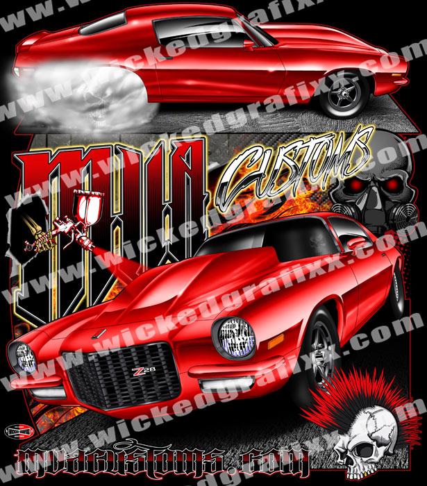 Chevrolet Drag Racing T Shirts : Wicked grafixx custom big tire drag racing t shirts