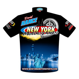 Dave Hance 57 Chevy Pro Mod Drag Racing Crew Shirts Rear View