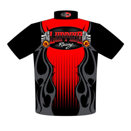 NEW!! Dom Luppino Outlaw 10.5 Mustang Drag Racing Crew Shirts Back View