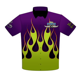 NEW!! Myles Parker Mercury Pro Modified Drag Racing Crew Shirts Front View