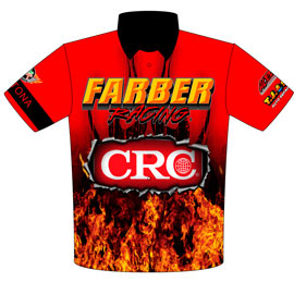 NEW!! Returning Customer Pete Farber ADRL / NHRA CRC Daytona Pro Modified Drag Racing Crew Shirts Front View