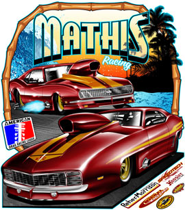R Mathis Pro Nitrous Outlaw Camaro Pro Mod Drag Racing T Shirts