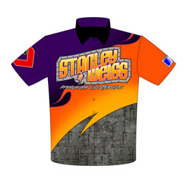 NEW!! Stanley And Weiss Racing ADRL Pro Extreme Pro Modified Drag Racing Team / Crew Shirts Returning Customer Front View