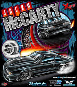 NEW!! Jacky McCarty Outlaw 275 Drag Radial Mustang Drag Racing T Shirts