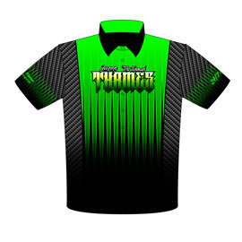 NEW !! Jason Thames Outlaw Drag Radial Mustang Racing Crew Shirts Front View