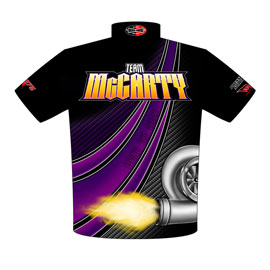 NEW!! Jacky McCarty Outlaw 275 Drag Radial Mustang Drag Racing Crew Shirts Back View