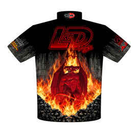 NEW!! Louis Ouimette Big Tire Blown Chevy IIr Drag Racing Team / Crew Shirts Back View