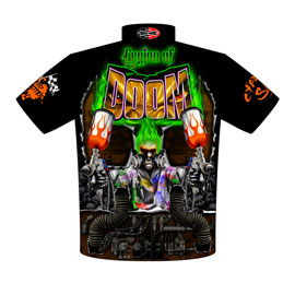 NEW!! Mac McAdams Pro Boost Pro Modified Supercharged Leigon Of Doom Corvette Drag Racing Crew Shirts Back View