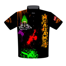 NEW!! Mac McAdams Pro Boost Pro Modified Supercharged Leigon Of Doom Corvette Drag Racing Crew Shirts Front View