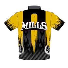NEW!! Dewayne Mills Outlaw Drag Radial Mustang Drag Racing Crew Shirts Front View
