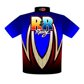 NEW!! R & R Pro Modified Top Dragster Drag Racing Crew Shirts Back View