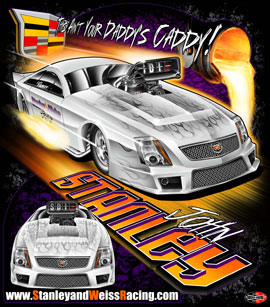 NEW!! Stanley & Weiss - John Stanley Cadillac CTS-V PDRA Pro Extreme Pro Modified Drag Racing T Shirts