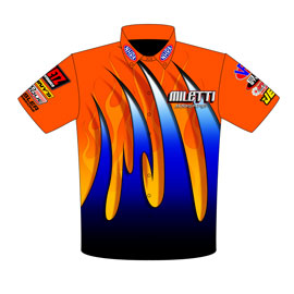 NEW!! Tim Miletti Pro Modified Drag Racing Crew Shirts Front View