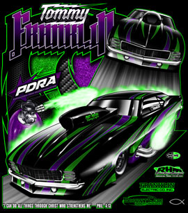NEW!! Tommy Franlkin PDRA Pro Nitrous Camaro Drag Racing T Shirts
