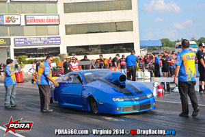 Anthony Paone At PDRA wearing Wicked Grafixx Custom Drag Racing Crew Shirts in Top Sportsman