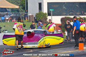 George Williams At PDRA wearing Wicked Grafixx Custom Drag Racing Crew Shirts in Pro Nitrous