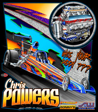 NEW!! Chris Powers Top Dragster Drag Racing T Shirts