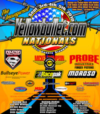 Yellow Bullet Outlaw Drag Racing Event Flyers