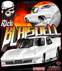 Rick Blaisdell 63 Supercharged Corvette Pro Mod Drag Racing T Shirts